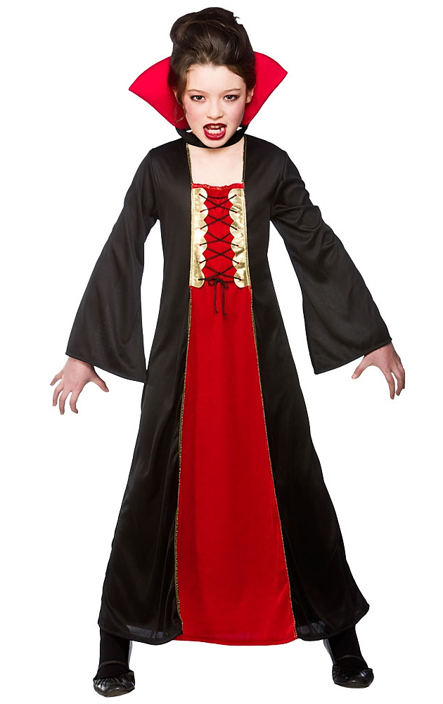 Details about Vampiress Girls Halloween Fancy Dress Vampire Kids Childrens  Childs Costume New