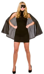 Adults Black Superhero Cape & Mask