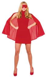 Adults Red Superhero Cape & Mask