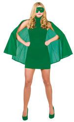 Adults Green Superhero Cape & Mask