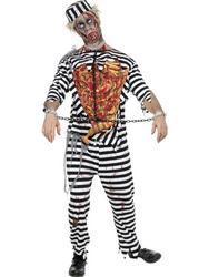 Mens Zombie Convict Fancy Dress Costume