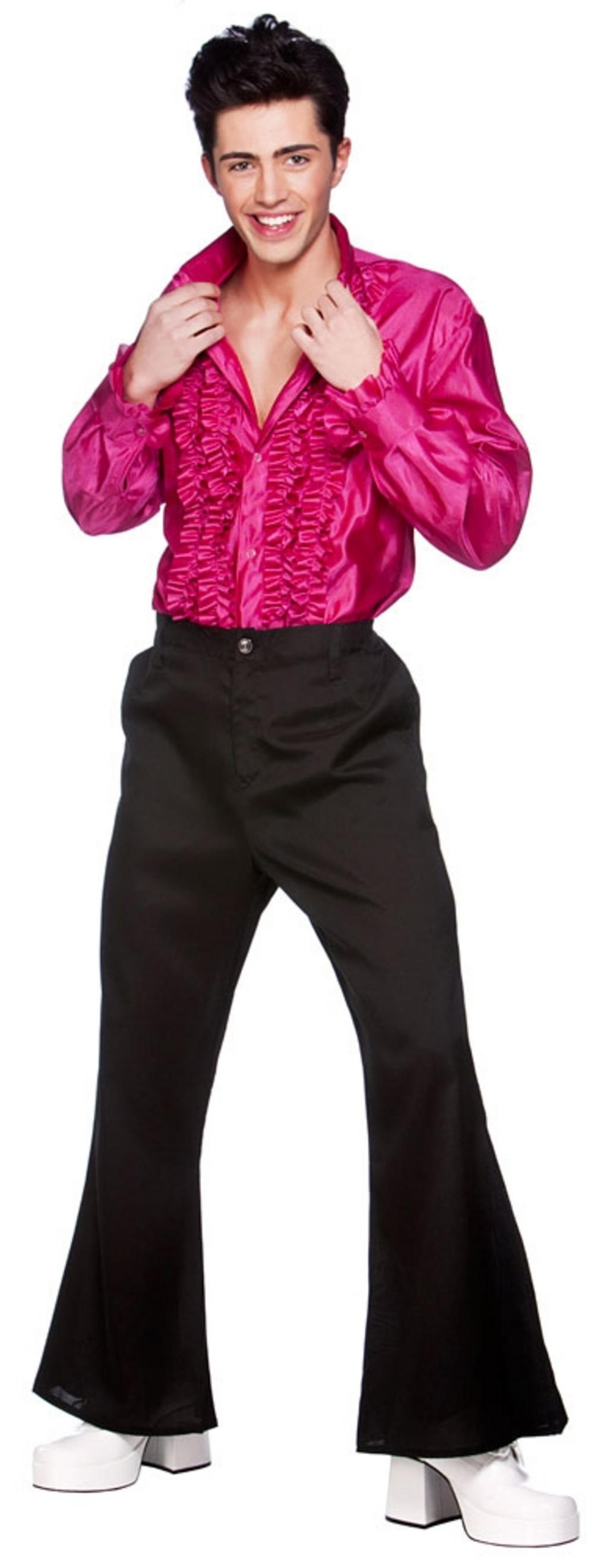Mens Pink Disco Ruffle Shirt