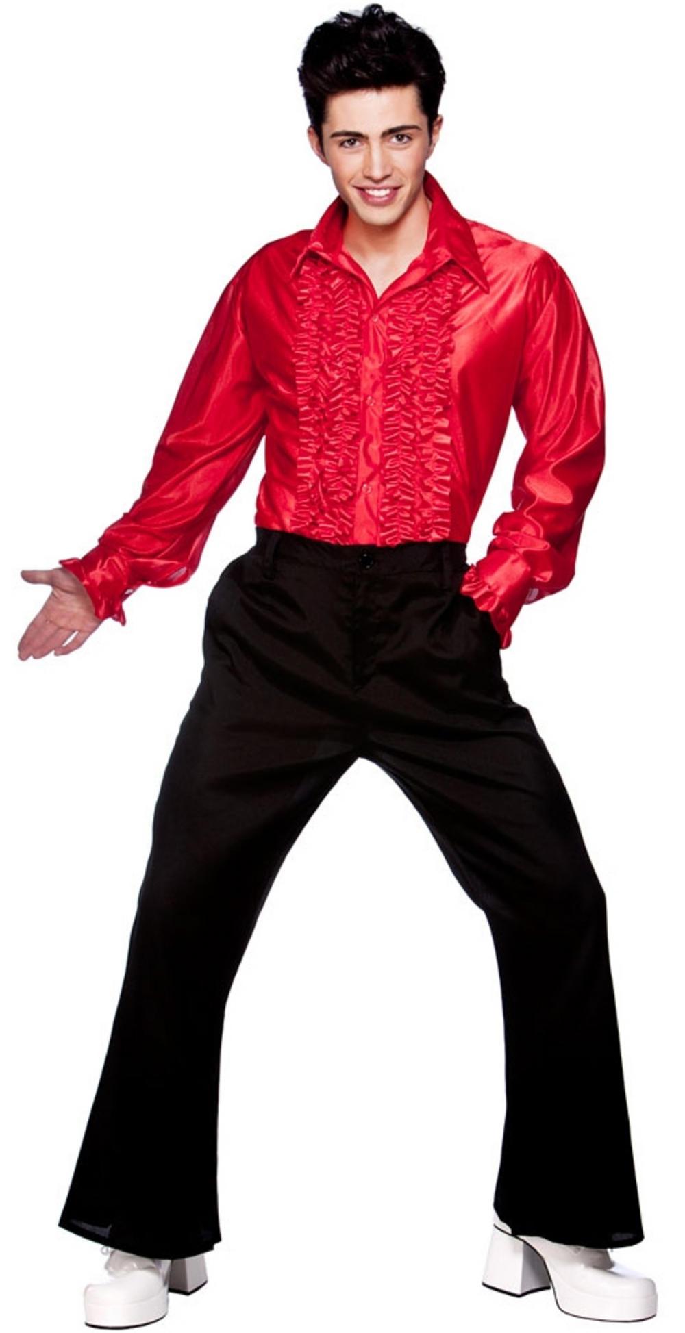 Mens Red Disco Ruffle Shirt