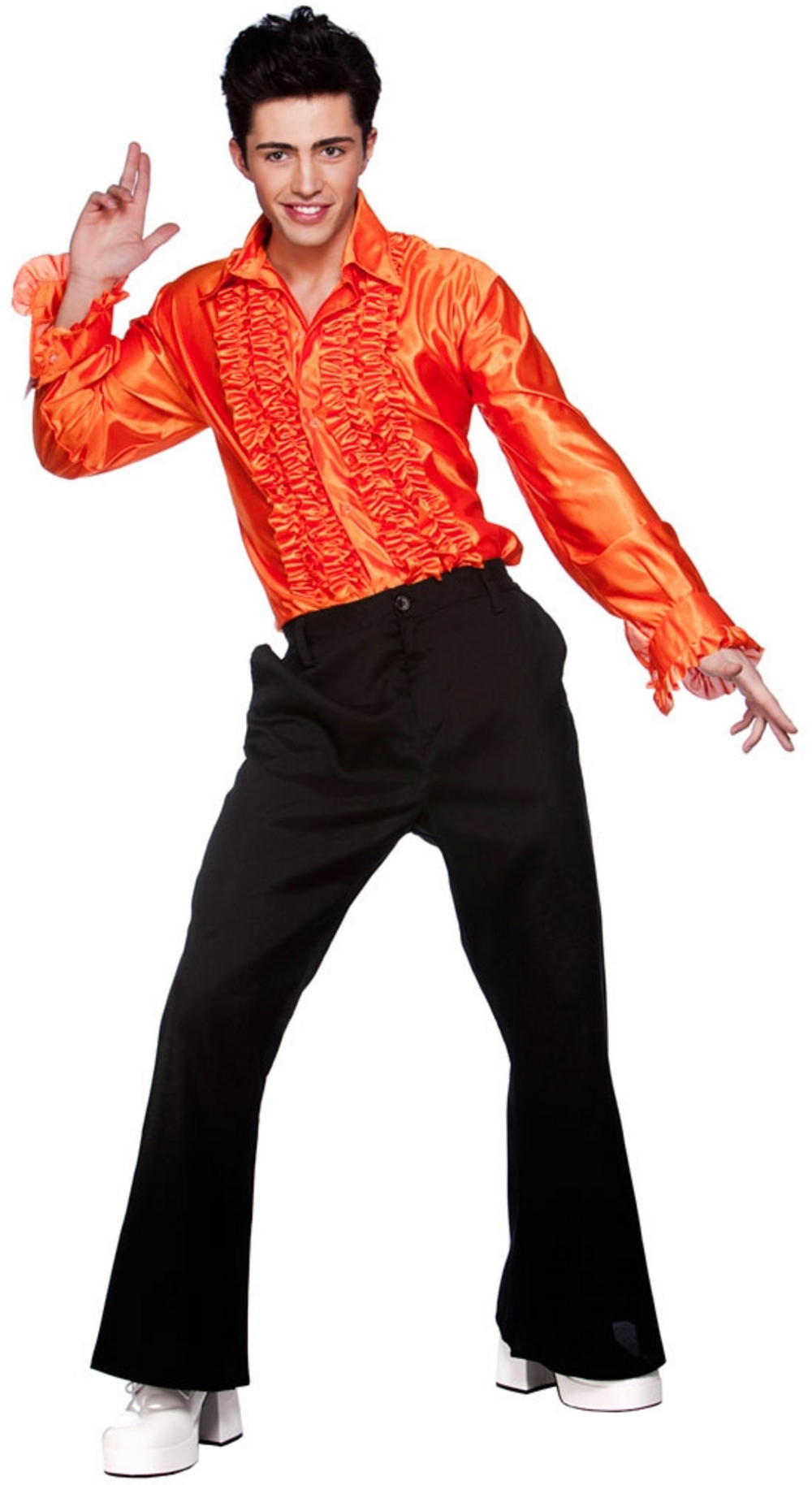 Mens Orange Disco Ruffle Shirt