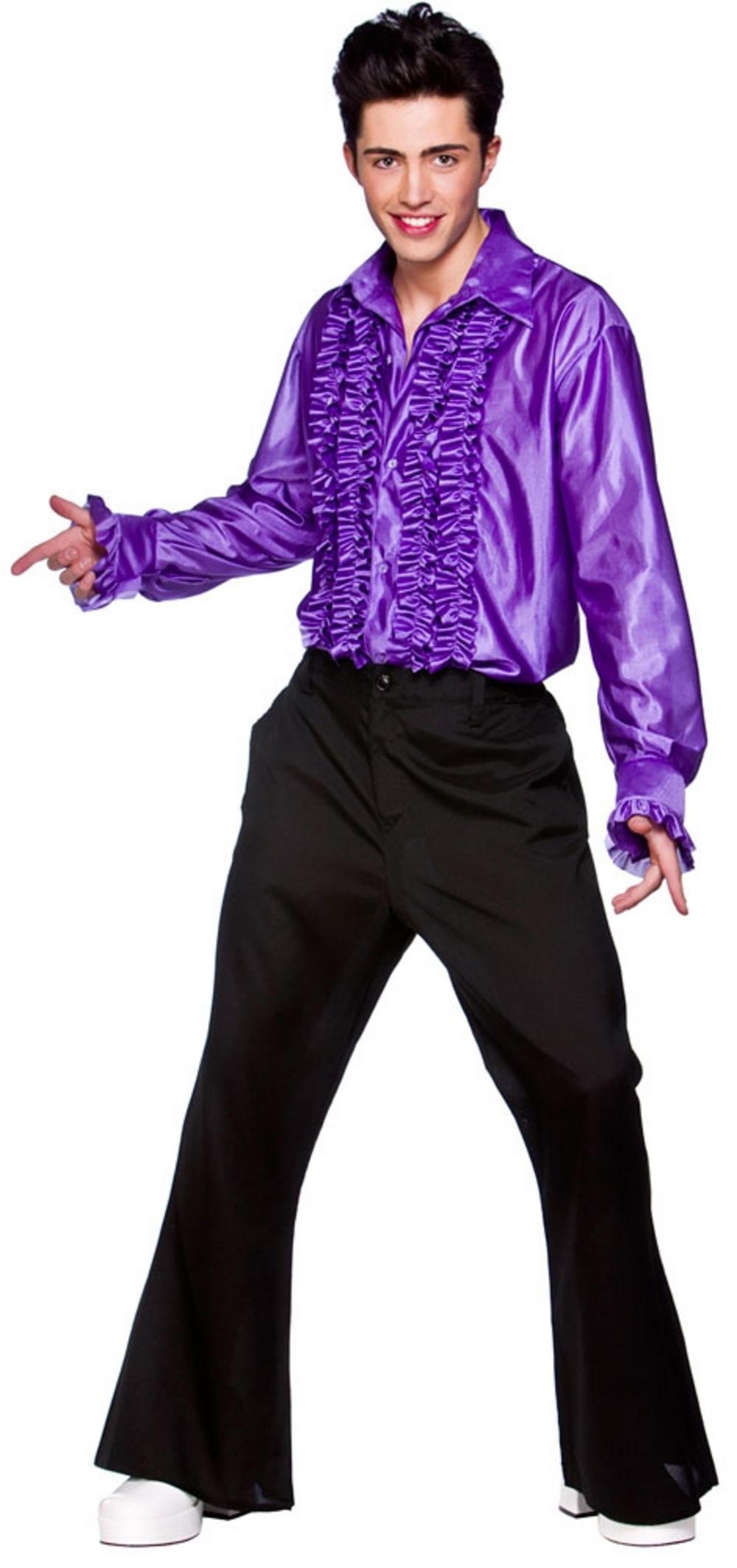 Adult Purple Disco Ruffle Shirt