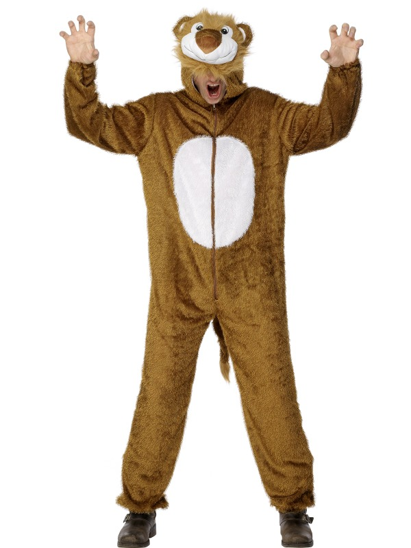 Deluxe Lion Adults Fancy Dress Animal Wild Cat Book Day Mens Ladies Costume New
