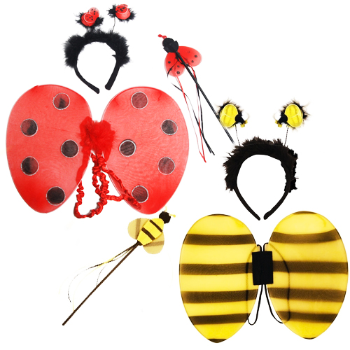 Girls Ladybird or Bumblebee Wings Set Fancy Dress Bug Insect Kids Childs Costume