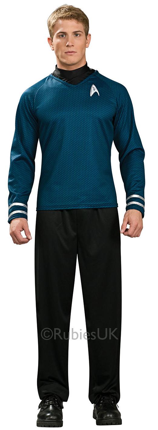 Captain Kirk Shirt Mens Fancy Dress Star Trek Gold Sci Fi Uniform Adults Costume
