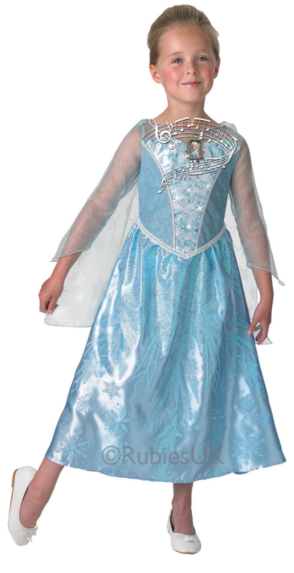 Girls Musical Amp Light Up Elsa Costume Frozen Fancy Dress