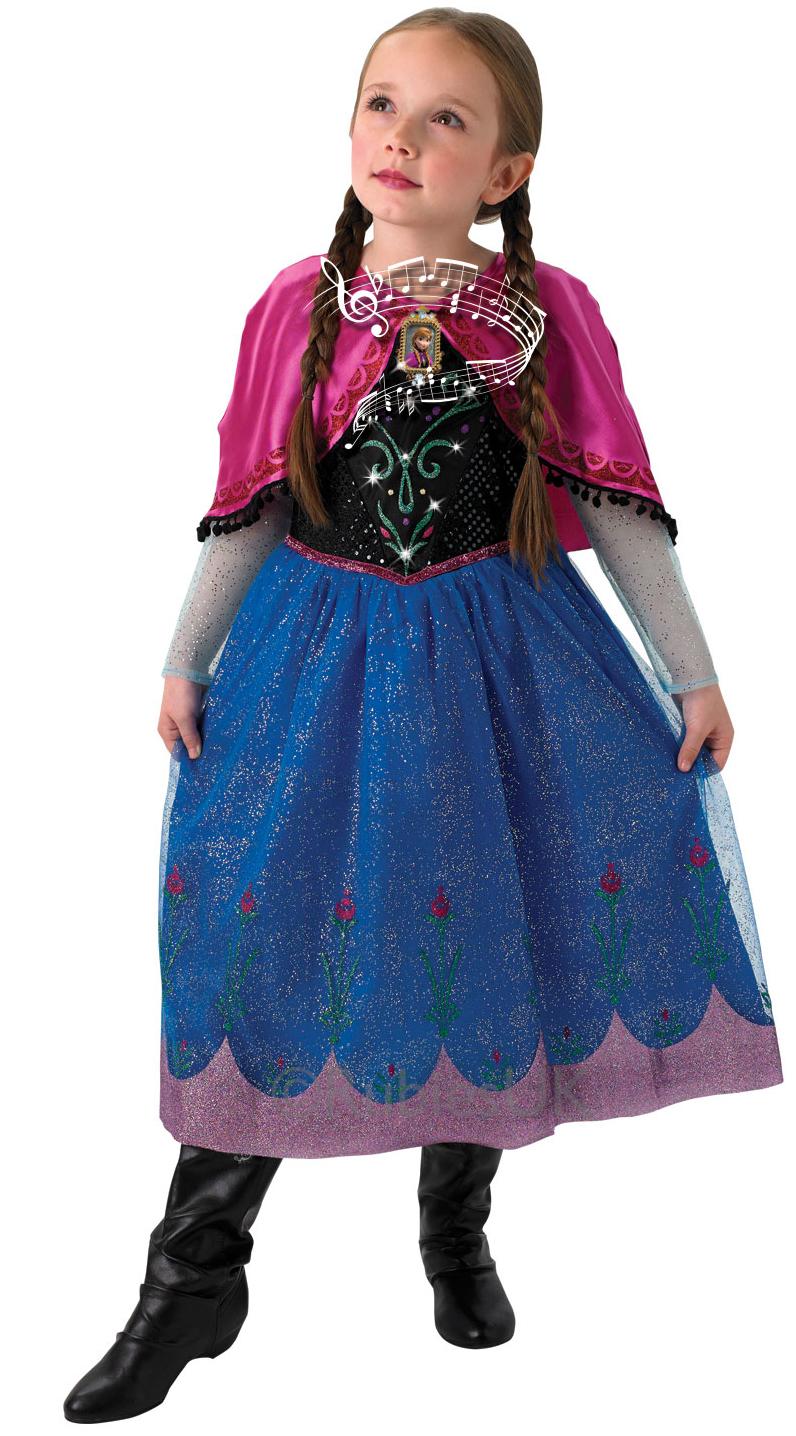 Girls Musical Amp Light Up Anna Costume Frozen Fancy Dress
