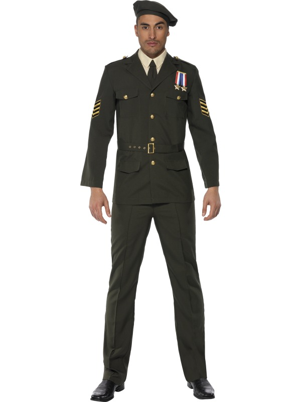 Sentinel Military Army Officer 1940s Fancy Dress Mens James Bond Costume Outfit New