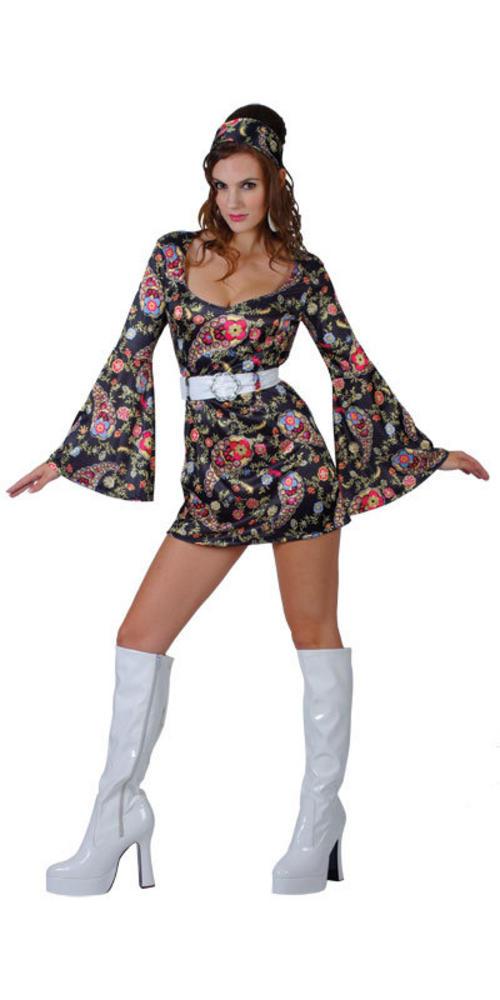 Las 1960s Retro Hippy Fancy Dress Costume
