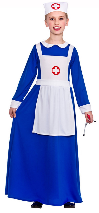 Nurse Costume Blue Dress /& Headpiece Doctors /& Nurses Childs Fancy Dress Costume