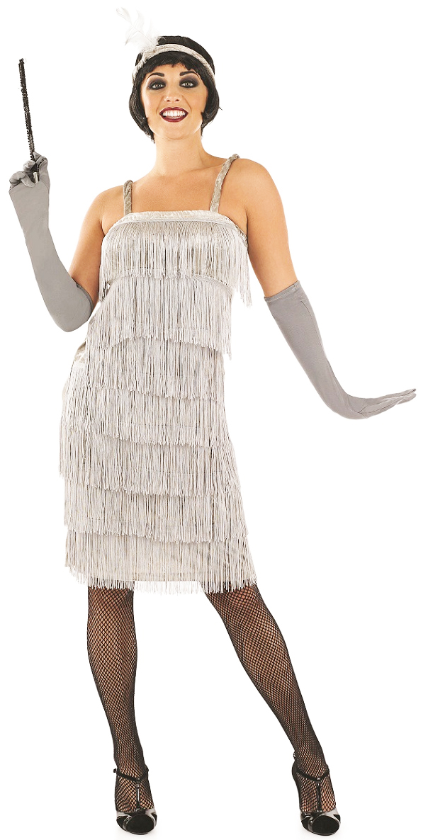 1920s silver flapper ladies fancy dress 20s gatsby womens