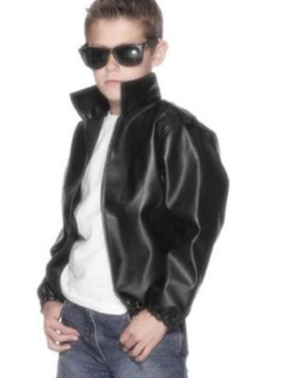 67515e701 Boy's Grease T Birds Leather Look Jacket | 1950s Costumes | Mega Fancy Dress