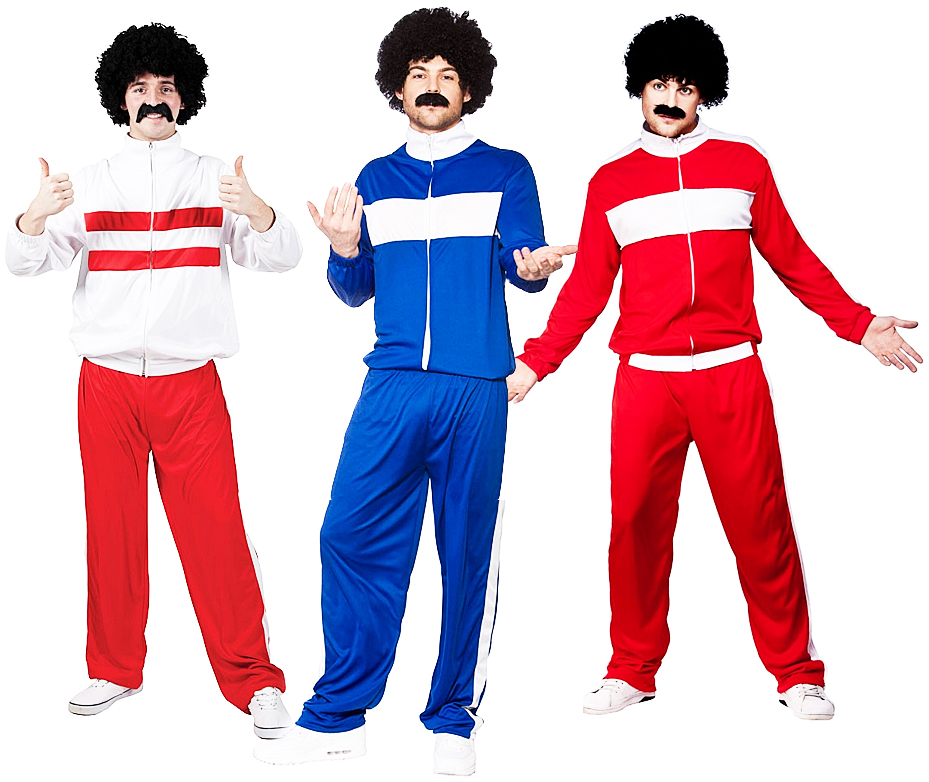 Athlete Trackie Mens Fancy Dress 1980s Scouser Tracksuit Adults Costume Outfits