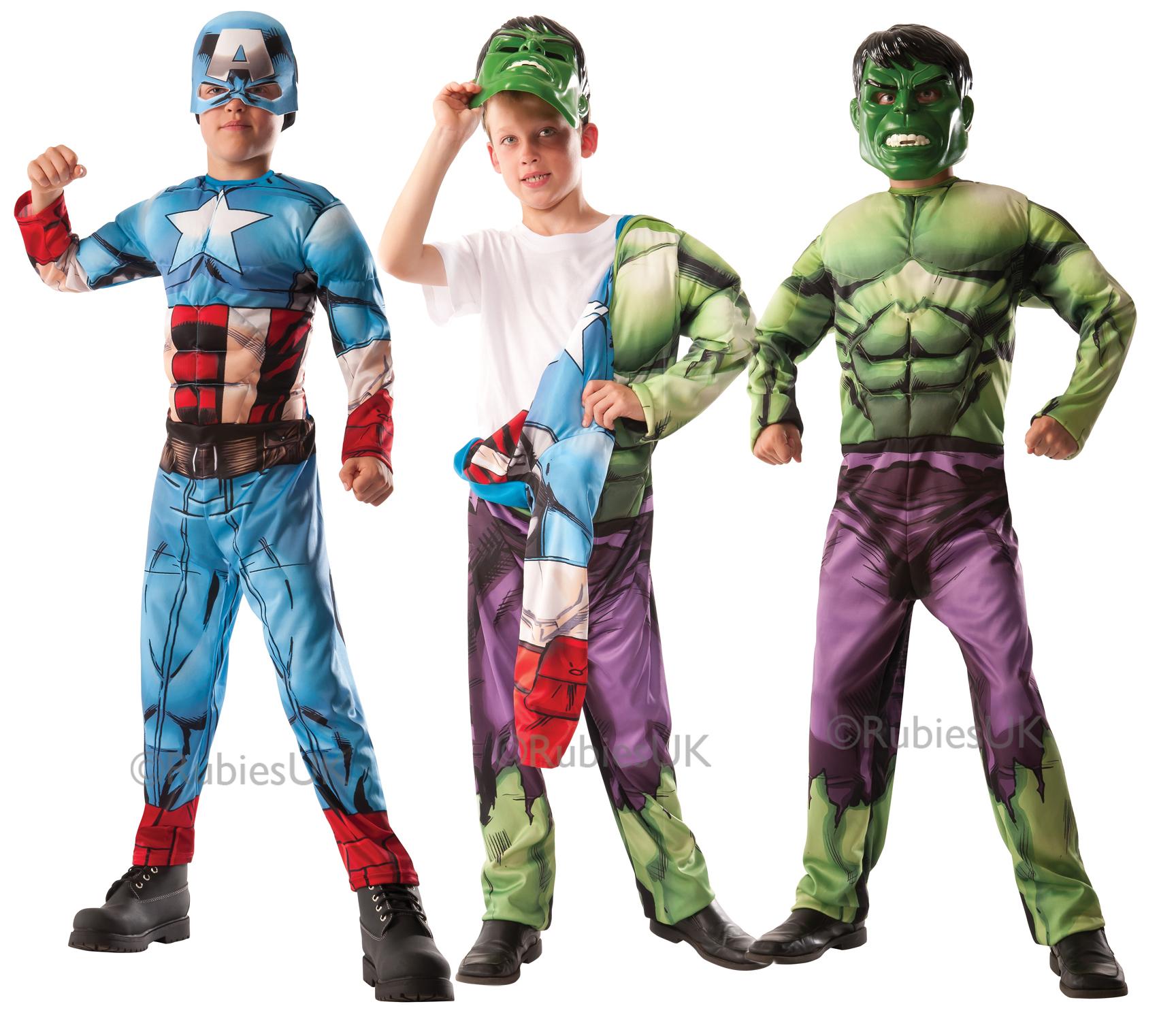 il prezzo rimane stabile grande collezione scarpe da ginnastica a buon mercato Dettagli su Deluxe reversibile Avengers abito fantasia Ragazzi Hulk Capitan  America Bambino Costume- mostra il titolo originale