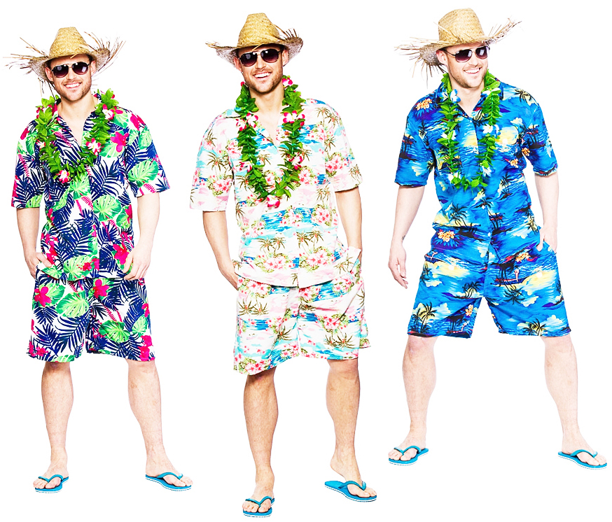 Hawaiian Beach Mens Fancy Dress Tropical Hawaii Luau Hula Adults Costume Outfit | eBay