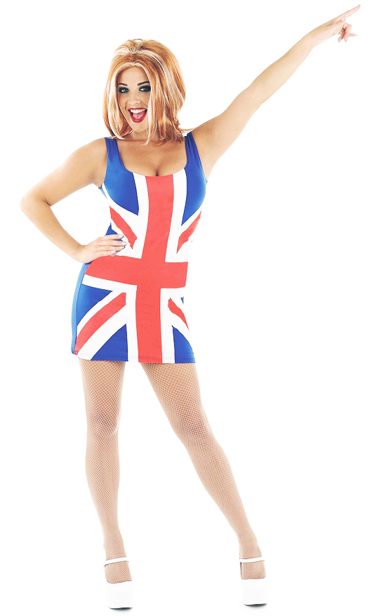 1990s Union Jack Ladies Fancy Dress 90s British Ginger Spice Girl