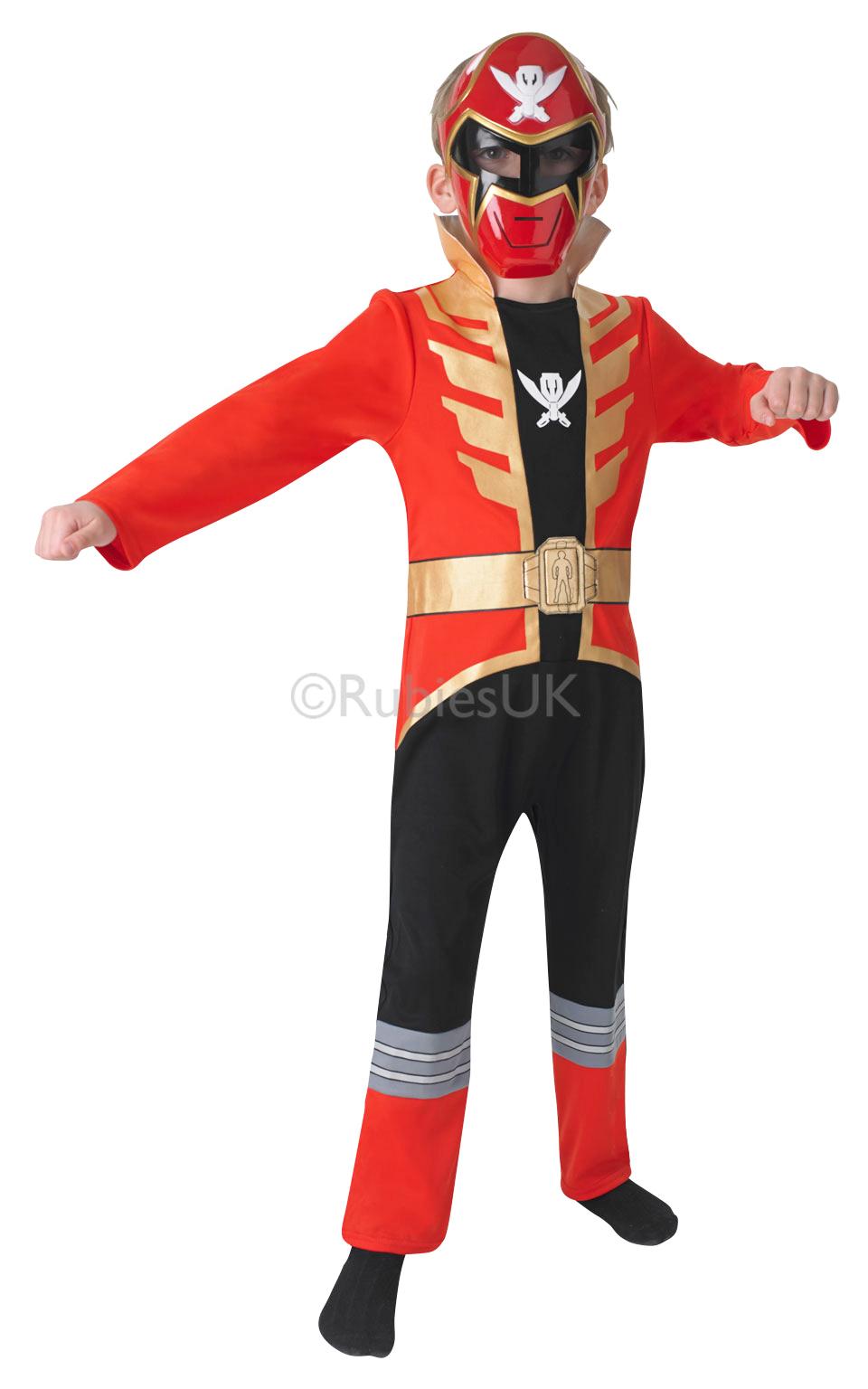 Red Power Ranger + Mask Boys Fancy Dress Super Megaforce ...