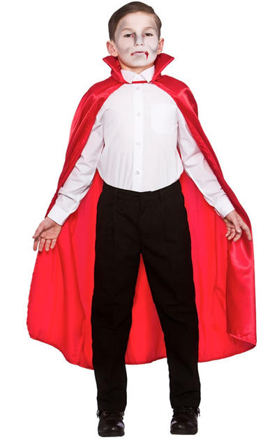 Deluxe Child Red Satin Cape W/Collar
