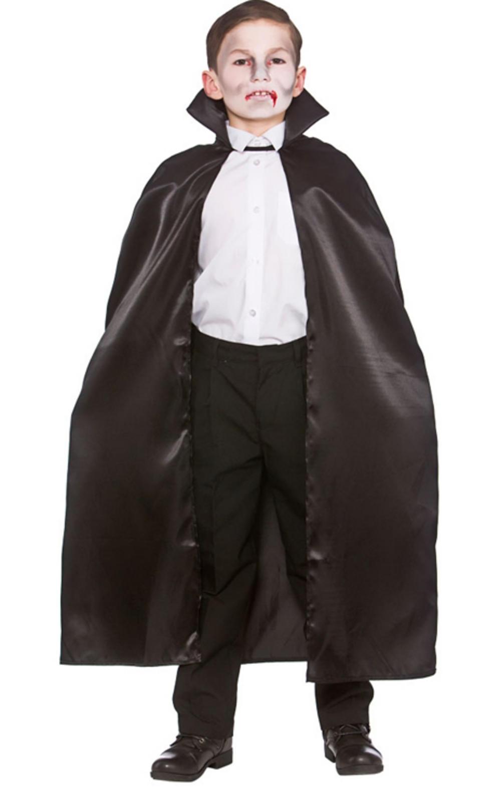 Deluxe Childrens Black Satin Cape W/collar