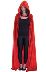 Velvet Red Hooded Ladies Cloak