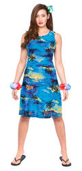 Hawaiian Short Blue Palm Ladies Costume