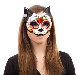 Day of the Dead Kitty Mask