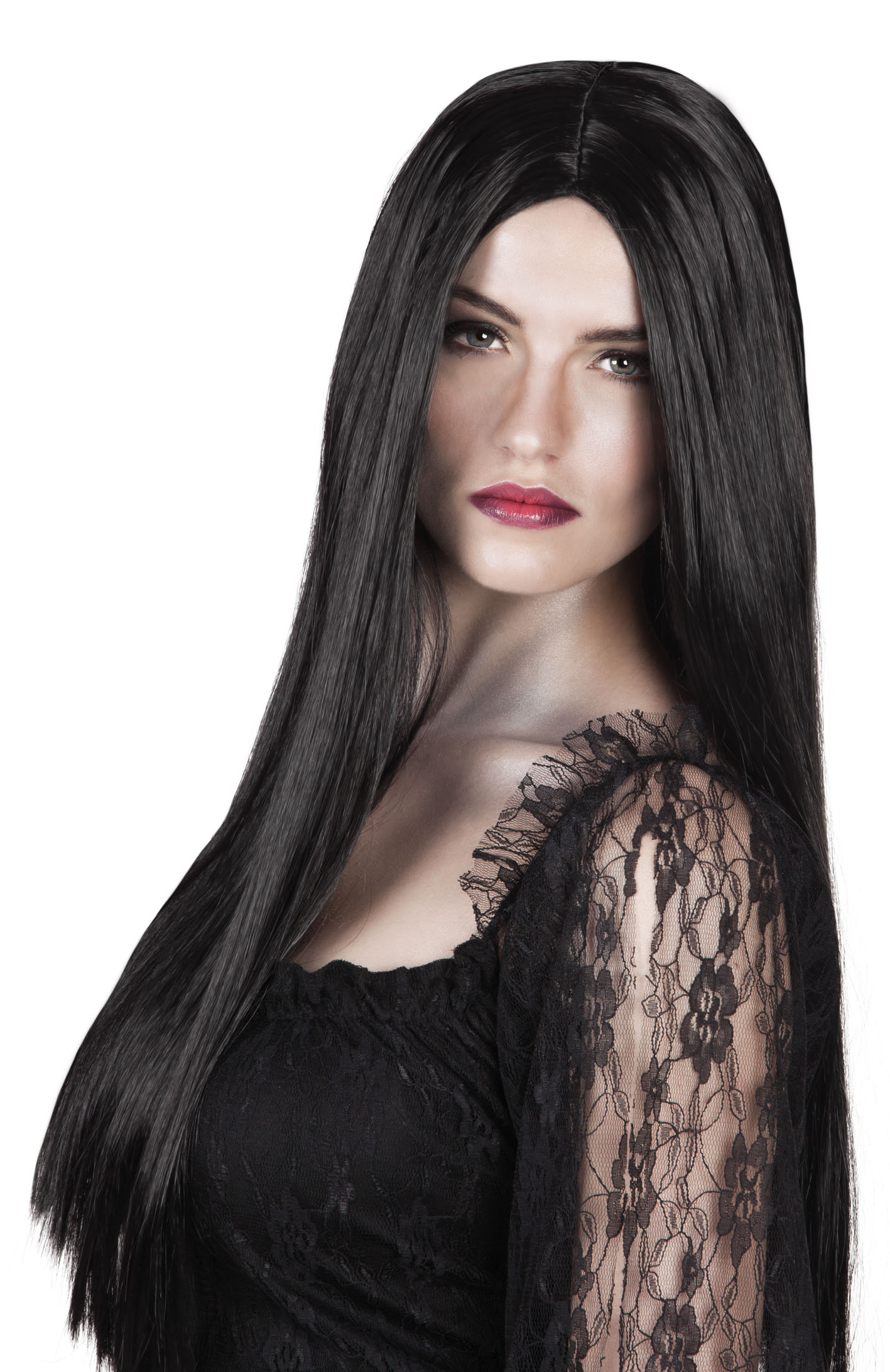 Long Black Witch Wig Ladies Fancy Dress Wigs Mega