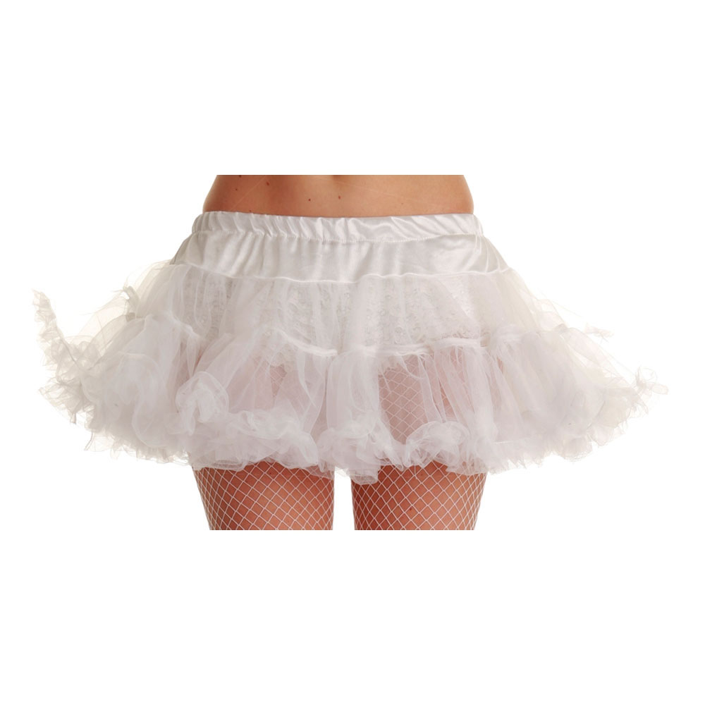 "12/"" White Ruffle Tutu Ladies Fancy Dress 1980s Womens Adults Costume 80s Skirt"
