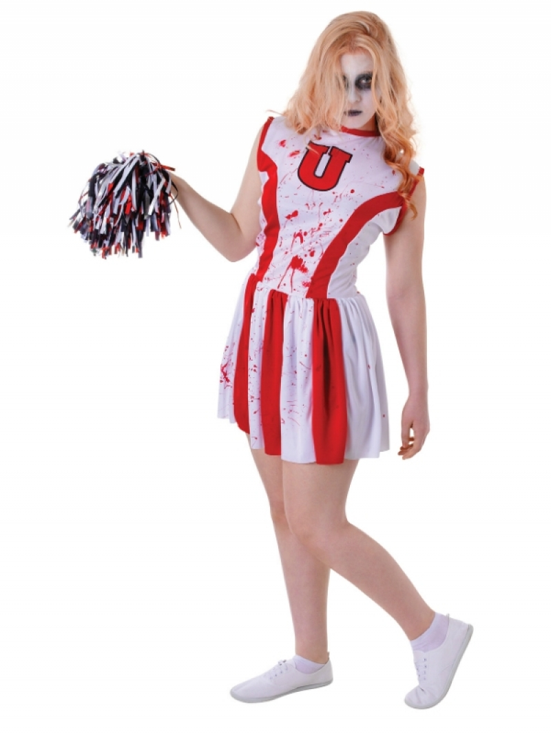 Sentinel Zombie Cheerleader + Blood Ladies Fancy Dress Halloween Horror Womens Costume  sc 1 st  eBay & Zombie Cheerleader + Blood Ladies Fancy Dress Halloween Horror ...