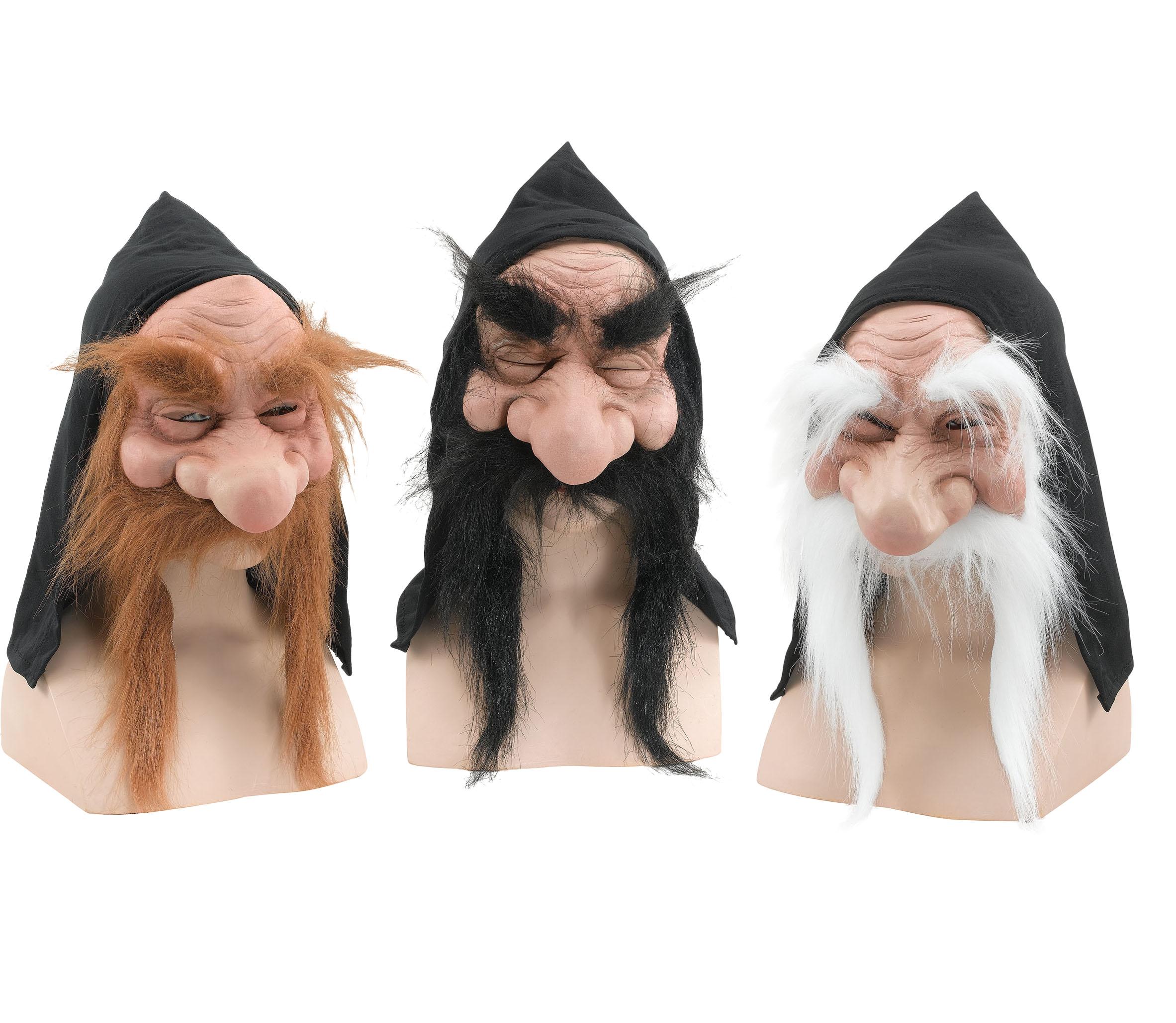 Gnome Mask Mens Fancy Dress Halloween Hobbit Wizard Troll Goblin Adults Costume