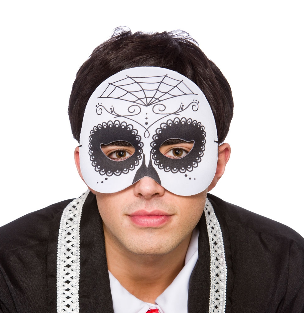 Day of the Dead Half Face Mask | Masquerade Masks | Mega Fancy Dress