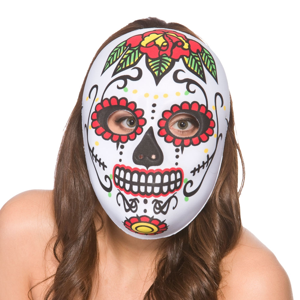 Day of the Dead Masks Fancy Dress Halloween Skeleton Skull Mens Ladies Costume