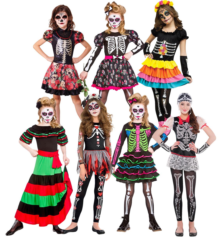 day of the dead girls fancy dress halloween skeleton skull kids