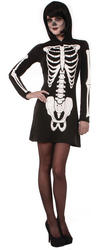 Hooded Skeleton Mini Dress Ladies Costume