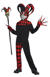 Krazed Jester Clown Boys Costume