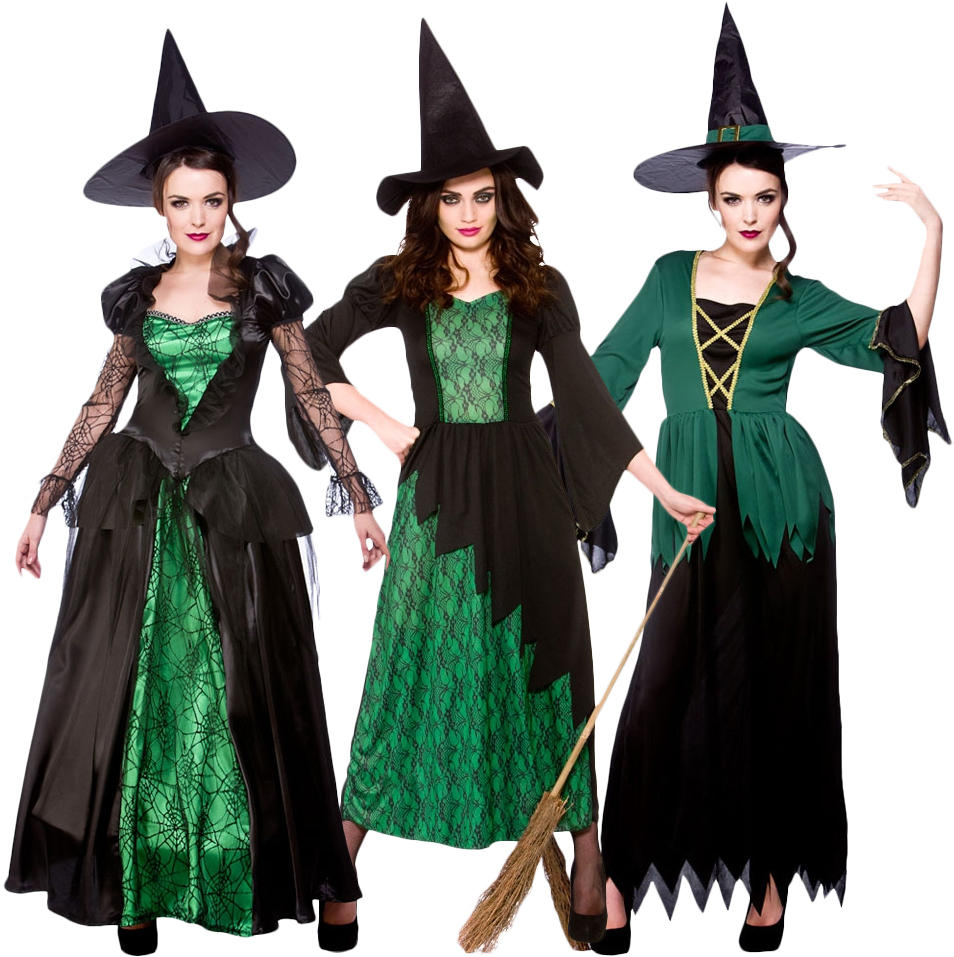 Sentinel Green Witches Women Fancy Dress Halloween Fairytale Creepy Spooky Scary Costumes  sc 1 st  eBay & Green Witches Women Fancy Dress Halloween Fairytale Creepy Spooky ...