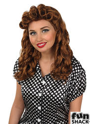 Brown Vintage WW2 Ladies Wig