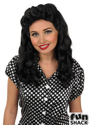 Black Vintage WW2 Ladies Wig