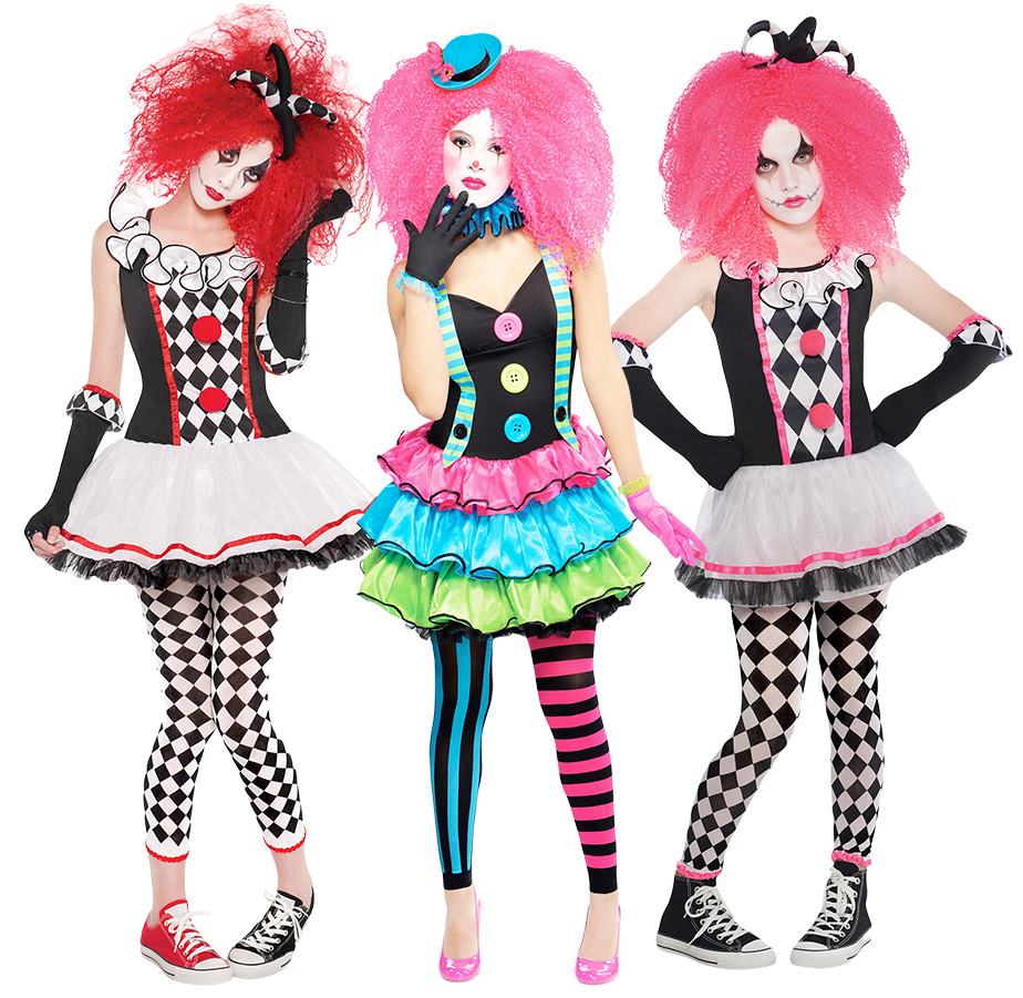 Girls Teen Circus Sweetie Clown Halloween Costume Fancy Dress Outfit 12-14 Years