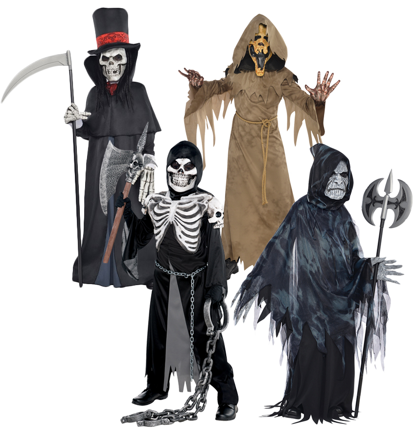 Grim Reaper Death Kids Fancy Dress Halloween Horror Skeleton Zombie Boys Costume