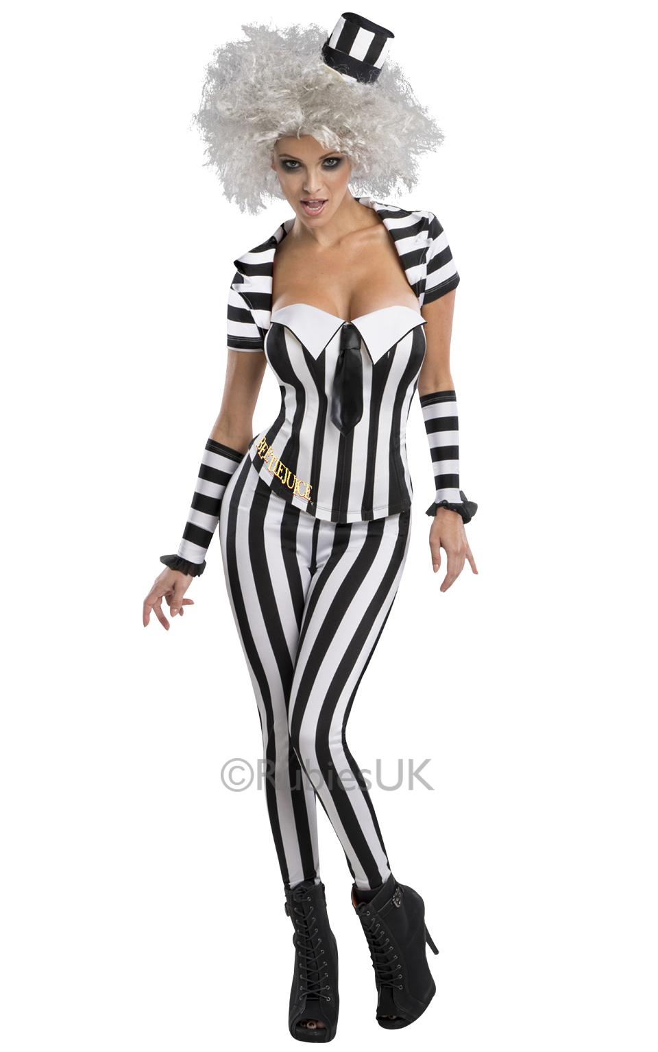beetlejuice corset trouser suit ladies fancy dress womens halloween