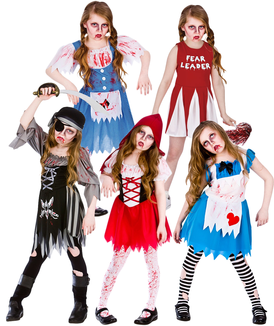 zombie + blood halloween girls fancy dress horror spooky kids