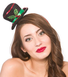 Christmas Top Hat on Headband Costume Accessory