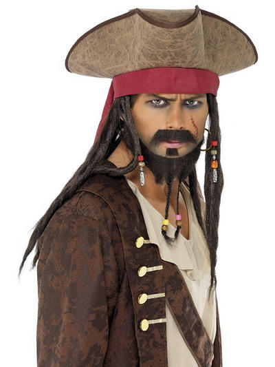 Pirate Hat With Dreadlocks Costume Accessory