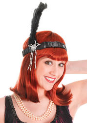 Black Flapper Headband and Feathers