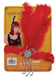Red Flapper Headband and Feathers