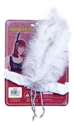 White Flapper Headband and Feathers